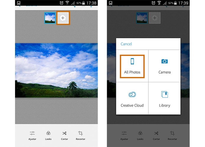 App permite adicionar uma segunda foto na edição (Foto: Reprodução/Barbara Mannara)