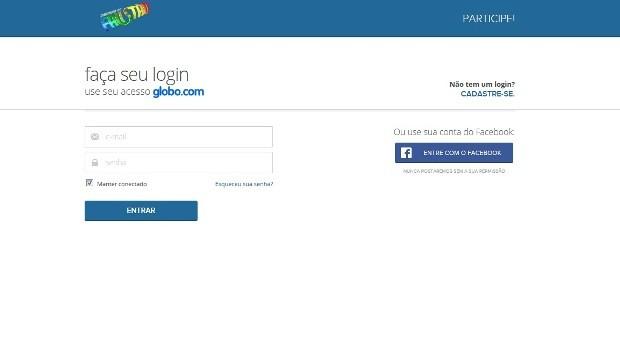 O primeiro passo é fazer o cadastro na Globo.com (Foto: Gshow)