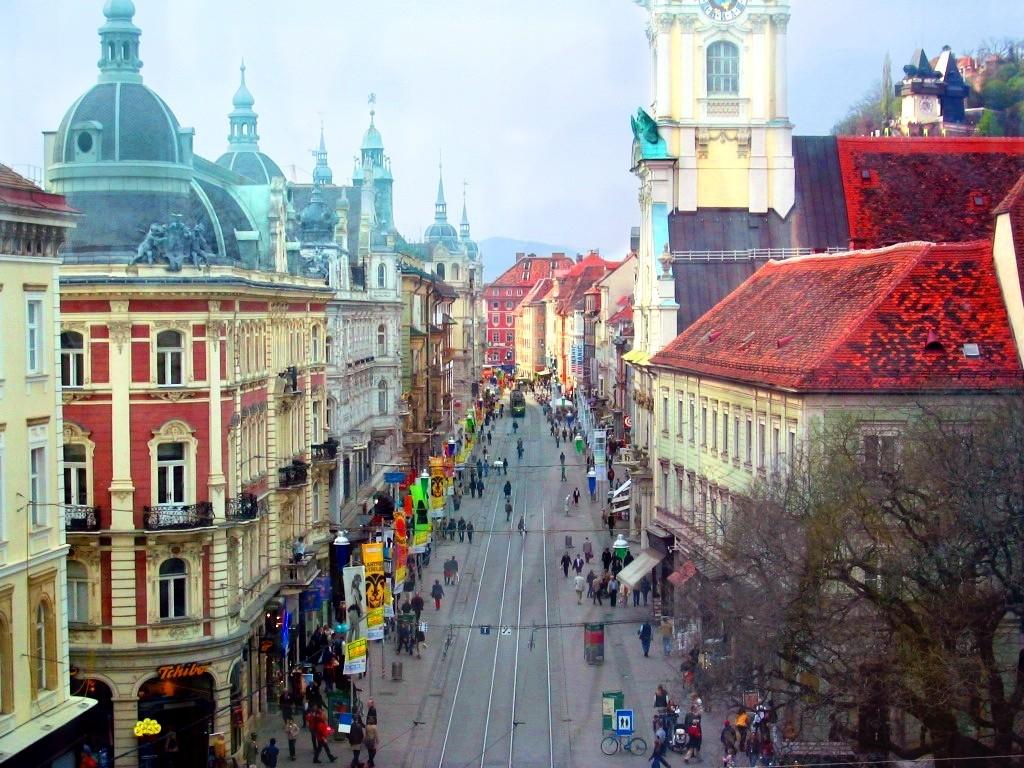 Área antiga de Graz, Áustria (Foto: Wikipédia)