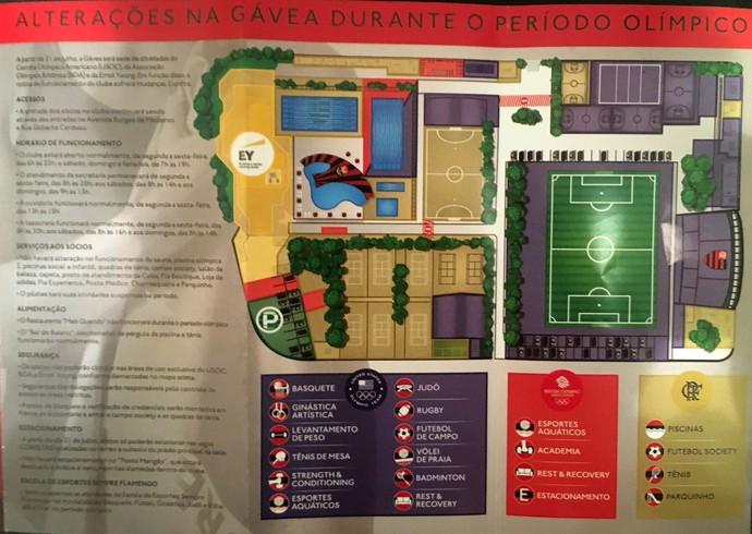 Mapa mostra as alterações feitas na Gávea durante o período da Olimpíada (Foto: Tiago Leme)