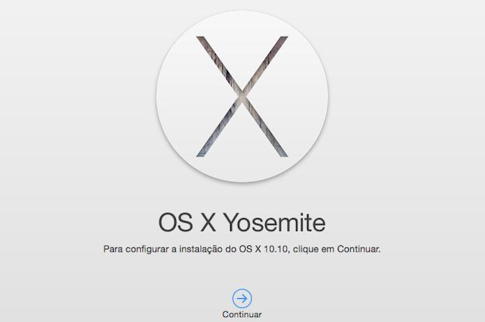 Iniciando a instalação do OS X Yosemite (Foto: Reprodução/Helito Bijora)
