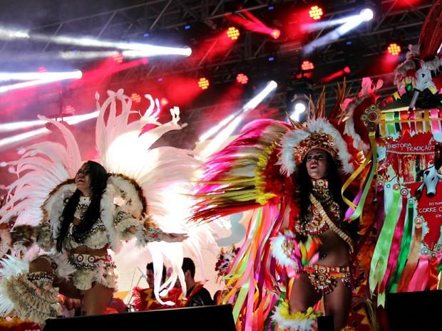 Boi Corre Campo deu show no palco da Arena da Amazônia (Foto: Marcos Dantas/G1 AM)