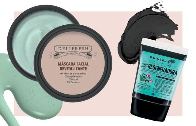 À esquerda, Máscara Revitalizante Delifresh Organics, R$ 60, Dermage. Ao lado, Máscara de argila preta regeneradora, R$ 86, Quintal (Foto: Patric Shaw / Trunk Archive, Thinkstock e Divulgação)