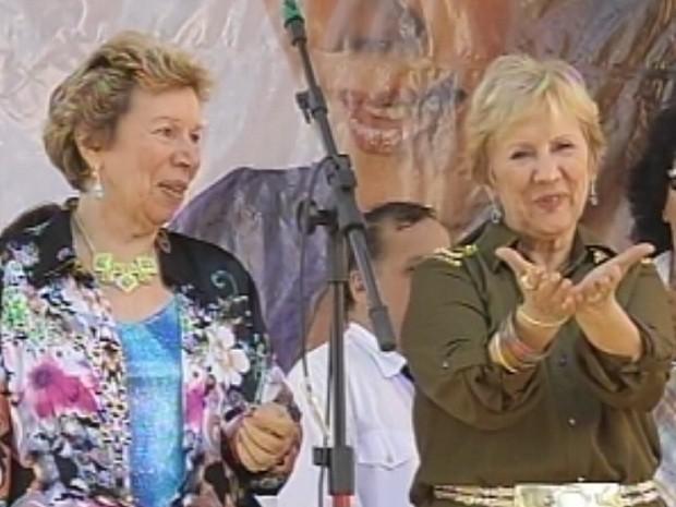 Irmãs Galvão voltaram ao distrito onde começaram a carreira  (Foto: Reprodução/TV Tem)