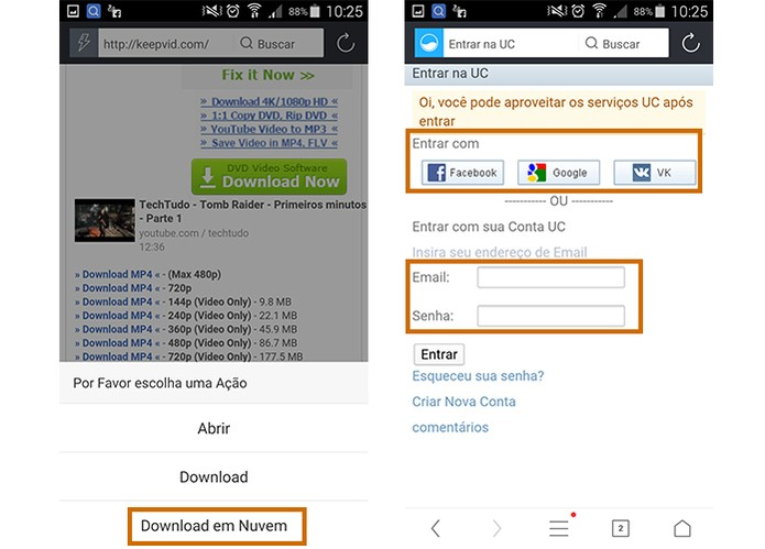 Inicie o download no UC Browser e selecione o serviço de nuvem (Foto: Reprodução/Barbara Mannara)