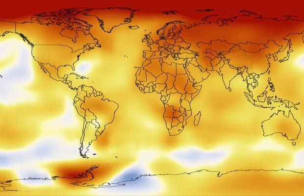 O mapa de cor da Nasa mostra onde a Terra esquentou mais (em vermelho) entre os anos 1951 e 2009 (Foto: Nasa)