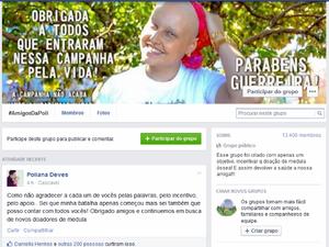 Amigas de Poliana Deves criaram página para incentivar doação de medula óssea (Foto: Reprodução Facebook)