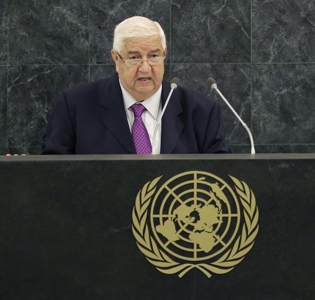 O chanceler da Síria, Walid al-Moualem, fala na ONU nesta segunda-feira (30) (Foto: AFP)