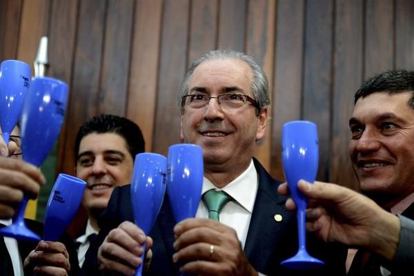 O presidente da Câmara dos Deputados, Eduardo Cunha, durante lançamento da Frente Parlamentar de Defesa e Valorização da Produção Nacional de Uvas, Vinhos, Espumantes e Derivados (Foto: Agência Brasil/Antonio Cruz)