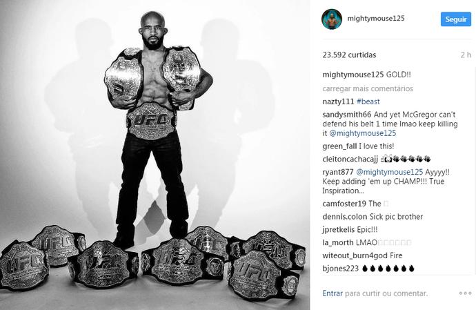 demetrious johnson cinturões (Foto: Reprodução/Instagram)