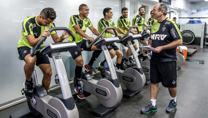 Jogadores na academia da Cidade do Galo (Foto: Bruno Cantini/Flickr do Atlético-MG)