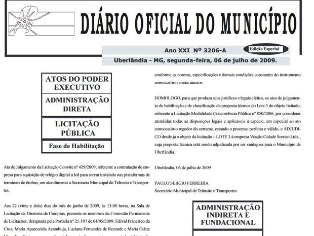 Documentos põem sob suspeita licitação de ônibus em Uberlândia (Foto: Reprodução/Diário Oficial do Município)