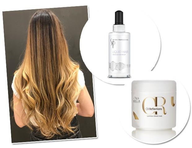 O cabelo da nossa repórter Paula Mello após a hidratação com o Liquid Hair e a máscara Oil Reflections, ambos da Wella (Foto: Arquivo pessoal/Divulgação)