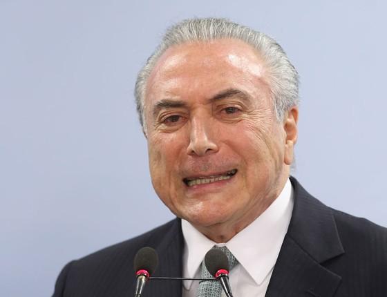 Presidente Michel Temer durante pronunciamento no Palacio do Planalto (Foto:  Adriano Machado/ÉPOCA)
