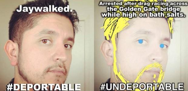 """Campanha batizada de """"Undeportable"""" insta participantes a tirar fotos de si mesmos (Foto: UndocuMeme/reprodução)"""