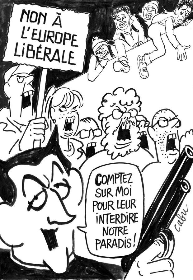 """""""Não à Europa liberal!"""" / """"Deixem que eu os impeço de entrar no nosso paraíso!"""" (Foto: Reprodução)"""