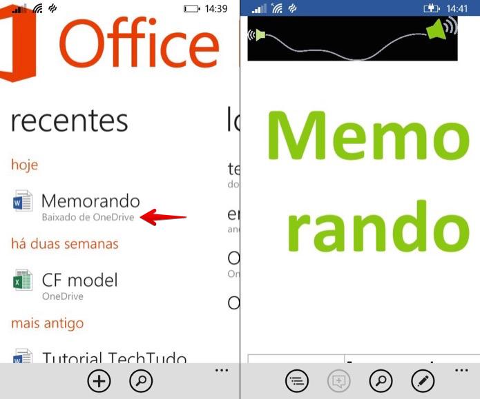 Acessando arquivos baixados para edição offline (Foto: Reprodução/Helito Bijora)