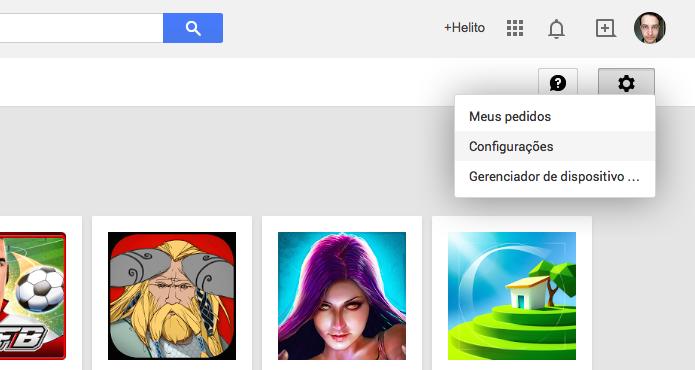 Acesse as configurações da Google Play (Foto: Reprodução/Helito Bijora)