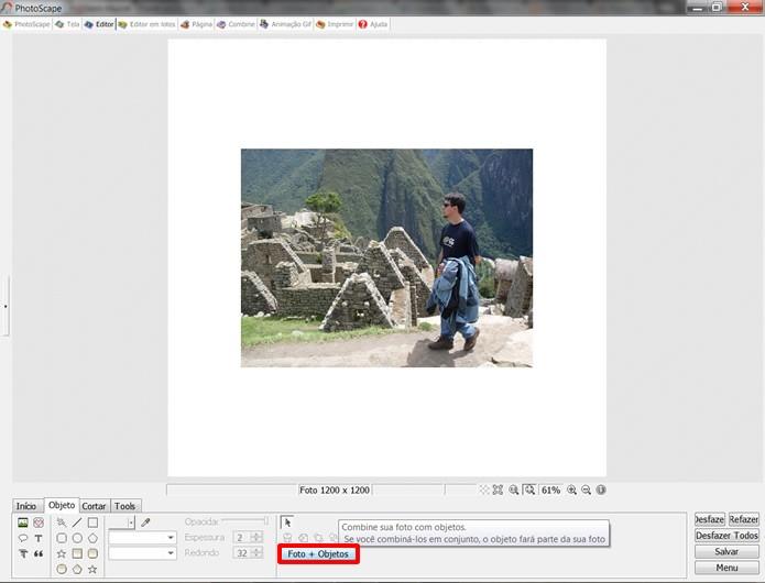 Aperte sobre o comando em destaque para que a imagem importada possa sofrer edições (Foto: Reprodução/Daniel Ribeiro)