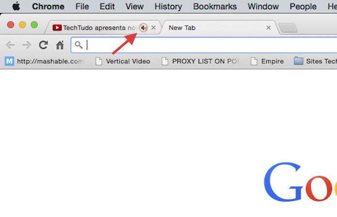 Acionando o botão mute de uma aba com áudio no Chrome (Foto: Reprodução/Marvin Costa)