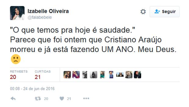 Fãs prestam homenagem a Cristiano Araújo (Foto: Reprodução/Twitter)