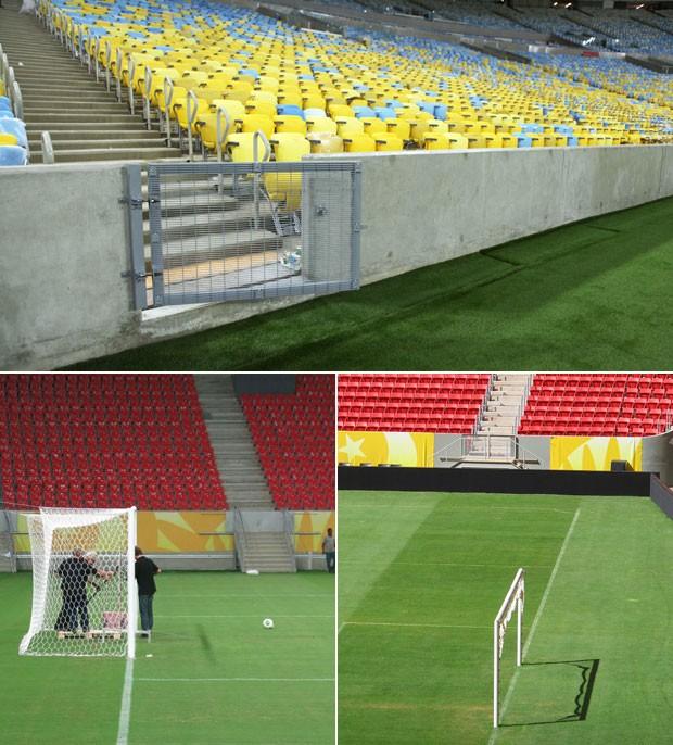 Montagem Estádios Maracanã Mané Garrincha Arena Pernambuco rampa campo (Foto: Editoria de Arte)