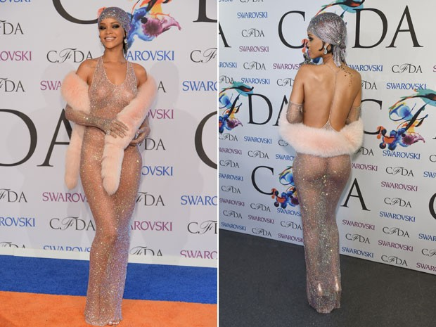 Rihanna posa de vestido transparente no CFDA Fashion Aswards, em Nova York, nesta segunda-feira (2) (Foto: Dimitrios Kambouris/Getty Images/AFP e  Larry Busacca/Getty Images/AFP)