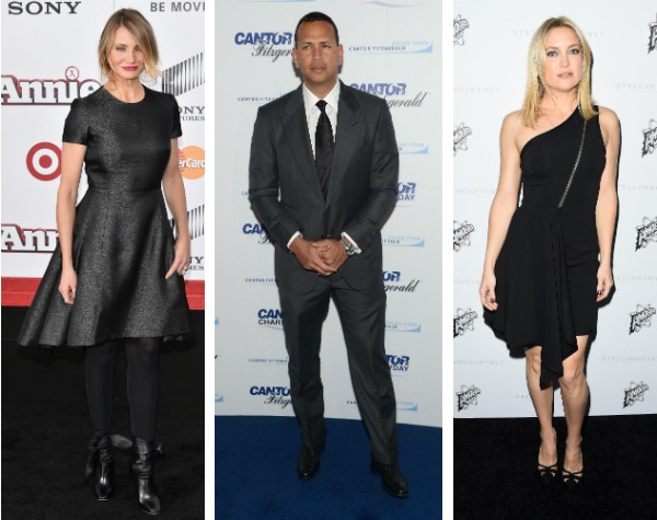 Cameron Diaz, Alex Rodriguez e Kate Hudson (Foto: Getty Images)