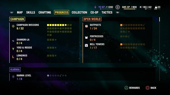Progresso pode ser acompanhado neste menu (Foto: Reprodução/Thiago Barros)