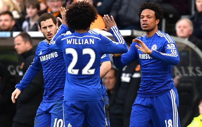Remy comemora gol do chelsea contra o Hull City (Foto: Agência Reutes)