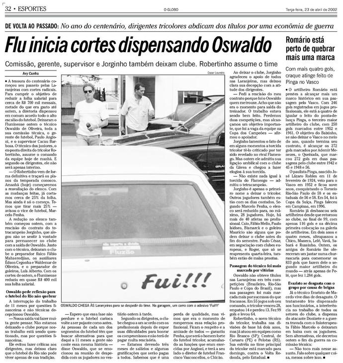 Jorginho, Oswaldo, Fluminense, Flamengo x Vasco, Vasco x Flamengo (Foto: Reprodução/Acervo O Globo)