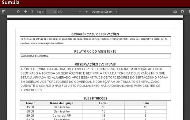 Árbitro relata ausência de policiamento nas arquibancadas do Fredericão (Foto: Reprodução/Site FPF)