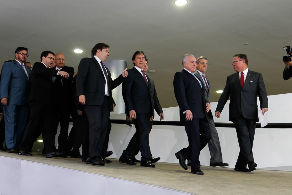 Temer recebeu apoio de aliados no dia em que TSE dava andamento ao julgamento da ação que pode culminar na cassação do presidente da República (Foto: Beto Barata/PR)