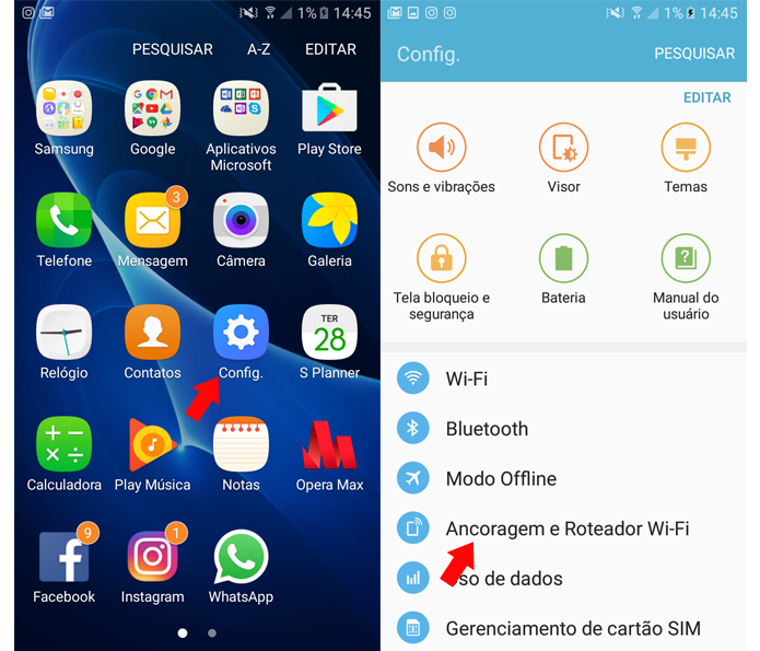 Acessando as configurações do Android para definir o Galaxy J5 Metal como roteador (Foto: Reprodução/Ana Marques)