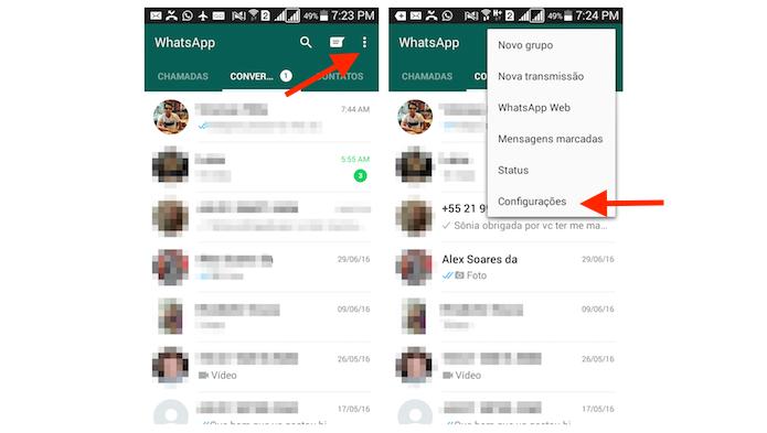 Acessando as configurações do WhatsApp em um smarpthone Android (Foto: Reprodução/Marvin Costa)