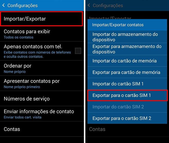 Exporte contatos para um dos chips (Foto: Reprodução/Paulo Alves)
