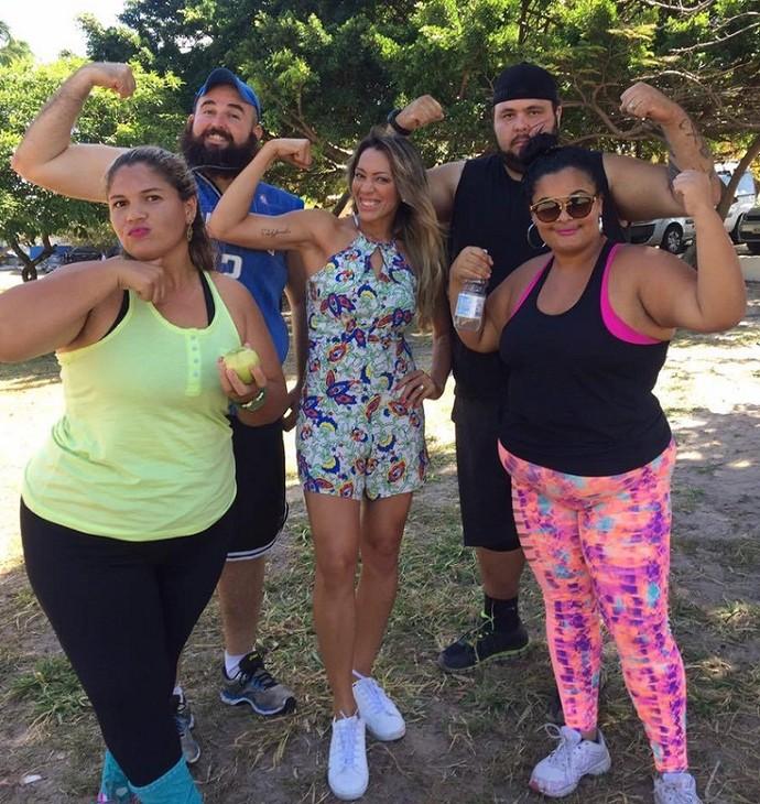 Fernanda Pinheiro e o quarteto do 'MTV 2017' (Foto: TV Sergipe)