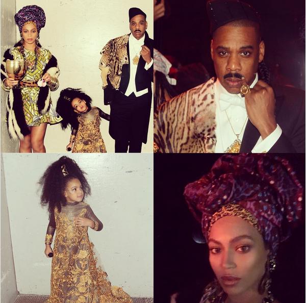 Beyoncé, Jay-Z e a filha mais velha fantasiados como os personagens de Um Príncipe em Nova York no Halloween de 2014 (Foto: Instagram)