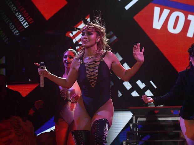 Jennifer Lopez em show em Miami, nos Estados Unidos (Foto: Jewel Samad/ AFP)