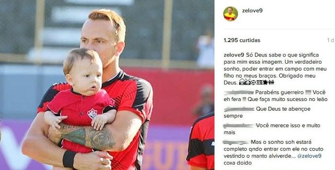 Zé Love e o filho na partida contra o São Paulo (Foto: Reprodução / Instagram)