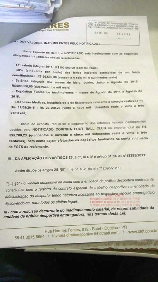Blog Torcida Coritiba - notificação extrajudicial Keirrison