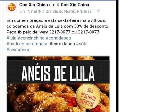 Restaurante fez promoção após conduçõa coercitiva do ex-presidente Lula (Foto: Reprodução)