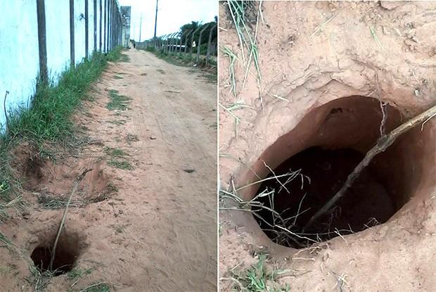 Segundo a Coape, presos que fugiram neste domingo usaram o mesmo túnel escavado para a fuga que aconteceu na quinta-feira (Foto: Divulgação/Força Nacional)