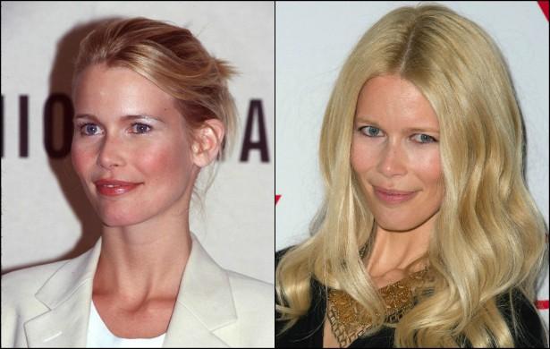 A supermodelo alemã Claudia Schiffer já está com 44 anos. Você se lembra de como ela costumava ter destaque na mídia décadas atrás? Em outubro de 1998, quando foi clicada na foto à esquerda, a loira tinha 28 anos de idade. (Foto: Getty Images)