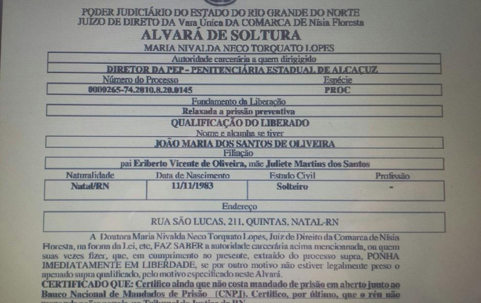 Alvará de soltura falso teria sido enviado de um e-mail da Coape para a Penitenciária Estadual de Parnamirim (Foto: Reprodução/G1)