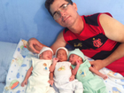 Desempregado, pai de trigêmeos pede ajuda para filhos em Rio Branco