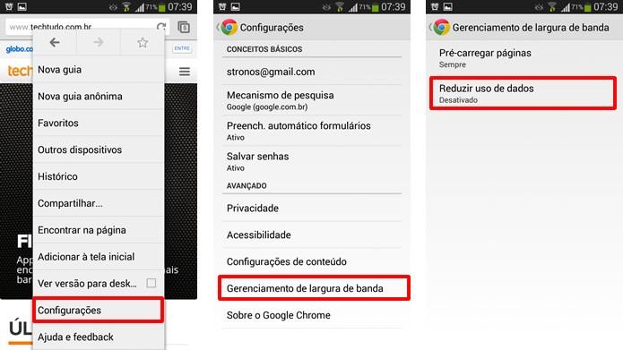 Vá até as configurações do Google Chrome e clique nas alternativas marcas nas figuras para torná-lo mais econômico (Foto: Reprodução/Daniel Ribeiro)