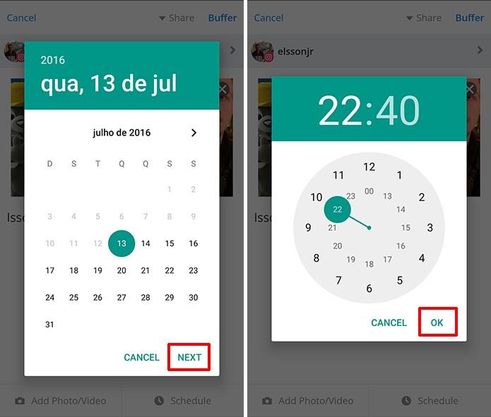 Usuário deve escolher data e horário para ser lembrado de publicação no Instagram (Foto: Reprodução/Elson de Souza)