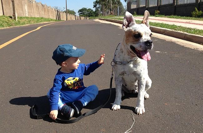O pequeno Caio e a pet Vick marcaram presença no álbum de fotos (Foto: Arquivo pessoal)