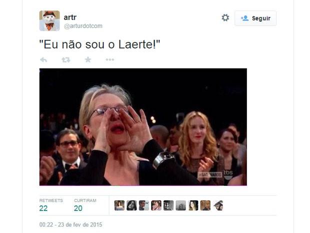 Meryl Streep é alvo de brincadeira que cita a cartunista Laerte (Foto: Reprodução/Twitter/arturdotcom)